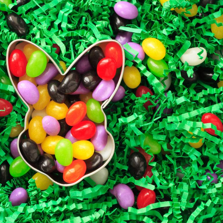 Easter bunny and jelly beans on grass