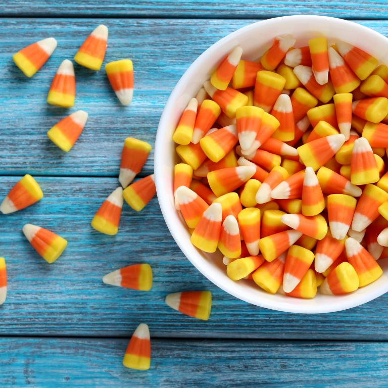 Halloween candy corn in a bowl